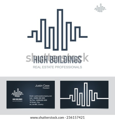 Real Estate Business sign & Business Card vector template for architecture bureau, insurance, brokerage, building & renovation business. Business graphics. Corporate web site element. Sample text. - stock vector