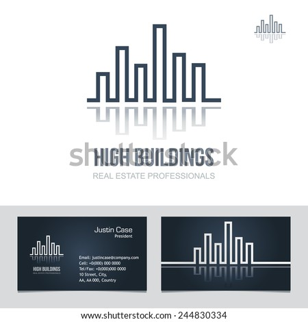 Real estate business sign business card stock vector 244830334 real estate business sign business card vector template for architecture bureau insurance brokerage reheart Gallery