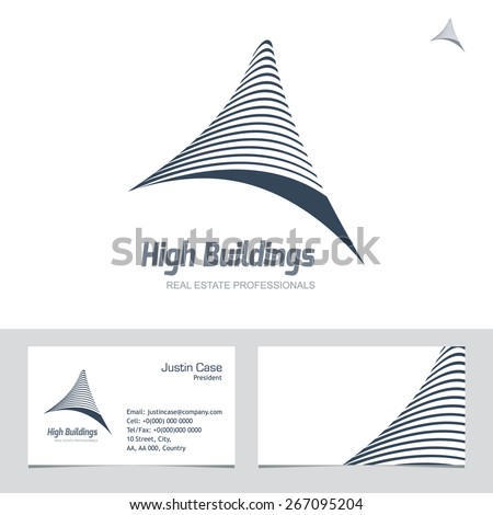Real estate business sign business card stock vector 267095204 real estate business sign business card vector template for architecture bureau insurance brokerage reheart Images