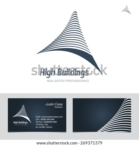 Real Estate Business Sign Card Vector Template For Architecture Bureau Insurance Brokerage