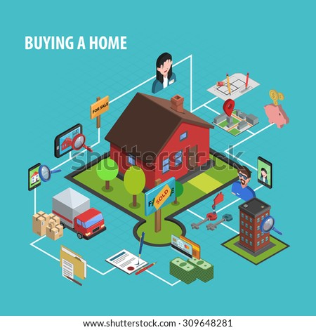 Real estate buying concept with isometric house choosing icons vector illustration - stock vector