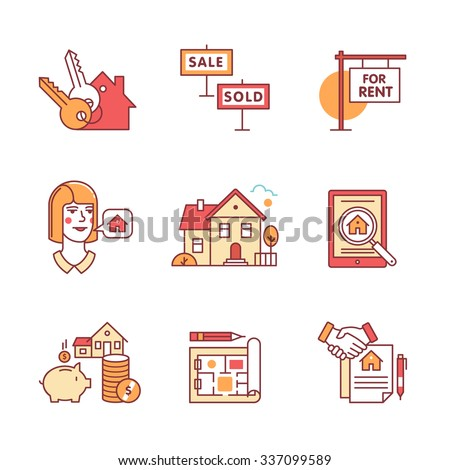 Real estate buying, selling and renting signs set. Thin line art icons. Flat style illustrations isolated on white. - stock vector