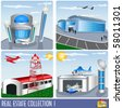 Real Estate collection 1, airport and aircraft hanger illustrations - stock vector
