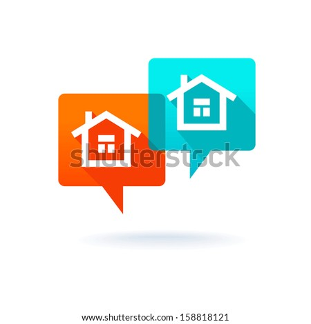 Real estate concept - dialog boxes with icons of houses - stock vector