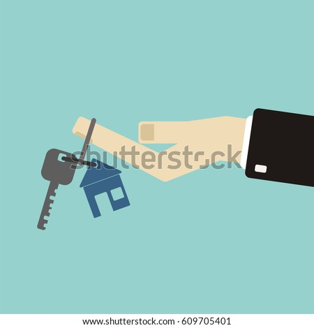 Real estate concept in flat style - hand of a real estate agent holding a home key with a tag.