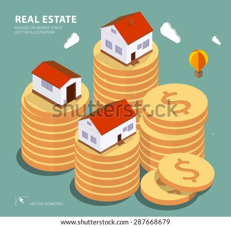Real estate concept vector illustration. Price variation on real estate market. Flat isometric style concept design illustration. - stock vector