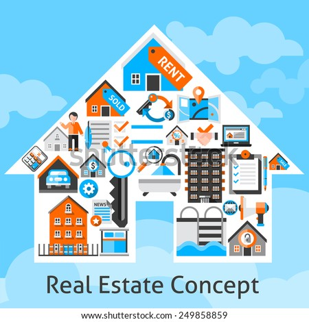 Real estate concept with commercial building residential property decorative icons in house shape vector illustration - stock vector
