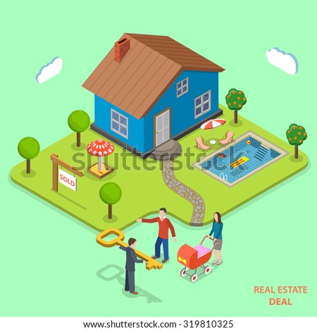 Real estate deal isometric flat vector concept. Agent gives key to young family that has just bought house. - stock vector