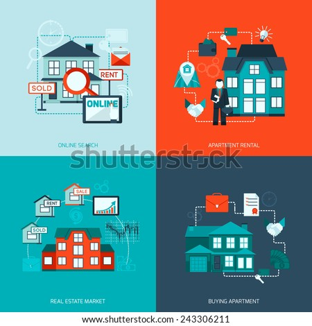 Real estate design concept set with online search apartment rental market buying flat icon isolated vector illustration - stock vector