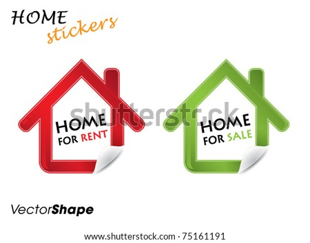 Real estate design elements, house for sale and rent stickers, vector illustration - stock vector