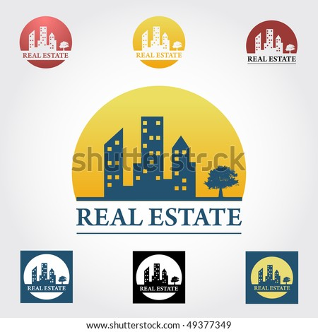 Real estate  design elements in different color variation - stock vector