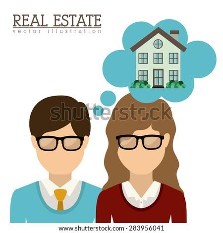Real Estate design over white background, vector illustration - stock vector