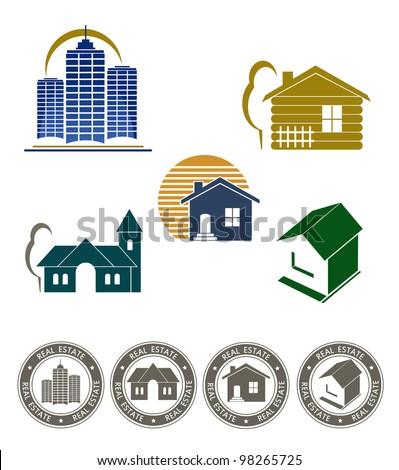 Real estate emblem and stamp set - stock vector