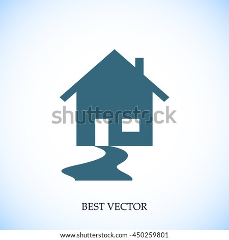 Real Estate ,House and swoosh road icon vector - stock vector