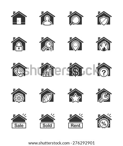 Real Estate & House icon on White Background Vector Illustration