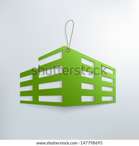 Real estate house sticker. paper cut icon - stock vector