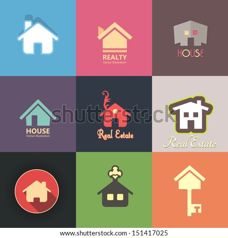 Real Estate - House Vector Icons Set - stock vector