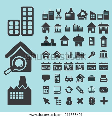 real estate, houses black icons, signs, silhouettes, illustrations set. vector  - stock vector