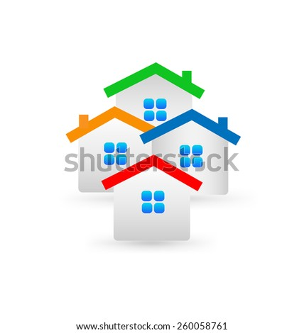 Real estate houses icon symbol concept of modern housing apartments logo template   - stock vector