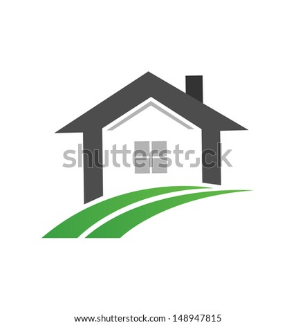 Real Estate icon House and swoosh road vector design - stock vector