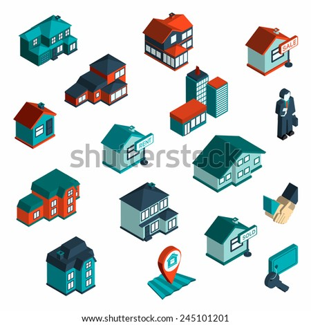Real estate icon isometric set with houses and commercial buildings 3d isolated vector illustration - stock vector