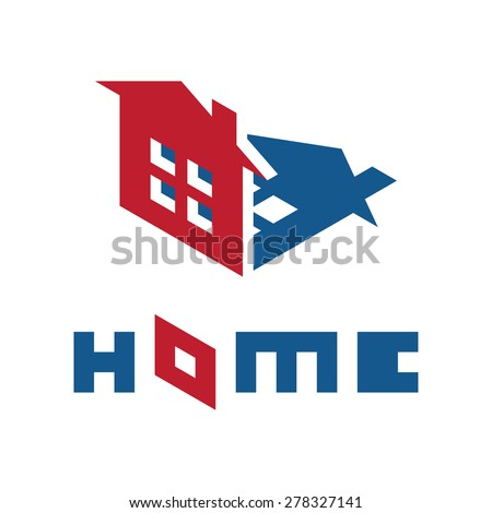Real Estate Icon of the Living House with Shadow - stock vector