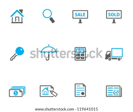 Real estate icon series in duo tone color style - stock vector
