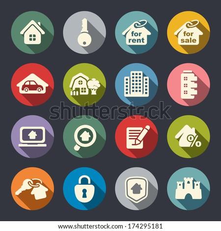 Real estate icon set - stock vector
