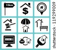 real estate icon set, property icon set - stock photo