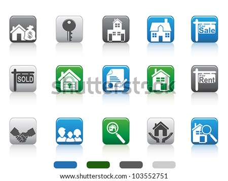 real estate icon,square button series - stock vector