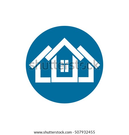 Real estate icon, vector abstract house. Property developer symbol, conceptual sign, best for use in advertising.