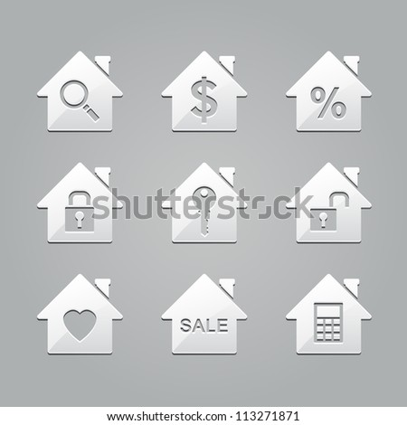 Real estate icons : emboss style - stock vector