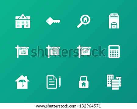 Real Estate Icons on green background. Vector illustration. - stock vector