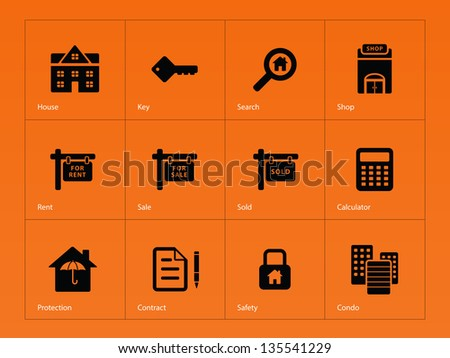 Real Estate Icons on orange background. Vector illustration. - stock vector