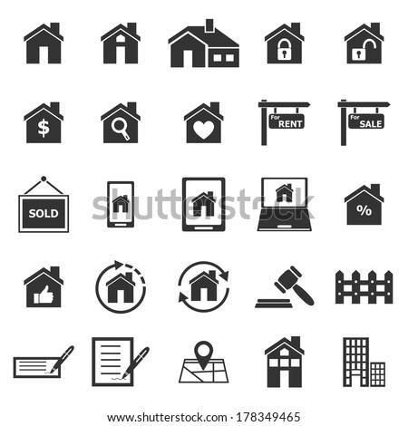 Real estate icons on white background, stock vector - stock vector