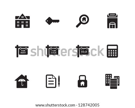 Real Estate Icons on white background. Vector illustration. Flat icons. - stock vector