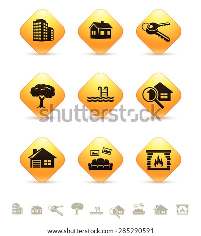 Real estate icons on yellow rhombic buttons - stock vector