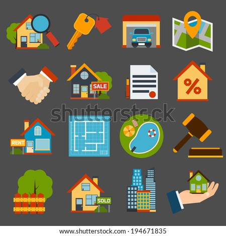 Real estate icons set of house key garage swimming pool  isolated vector illustration - stock vector