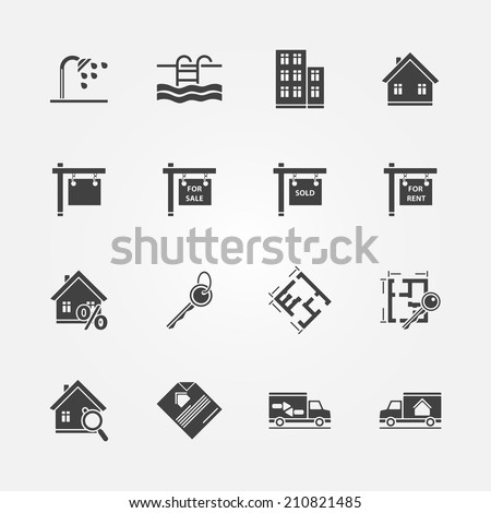 Real estate icons - vector real property or realtor symbols - stock vector