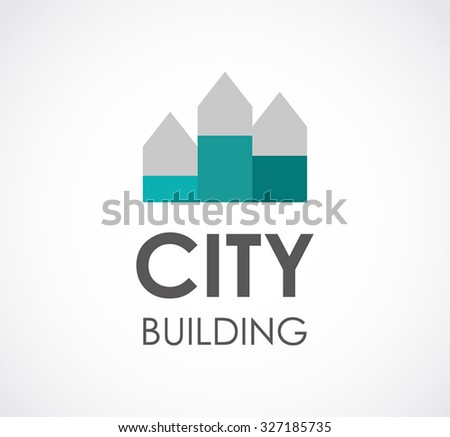 Real estate in city building abstract vector and logo design or template property business icon of company developer symbol concept - stock vector