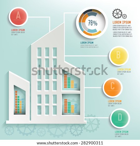 Real estate info graphic design, Business concept design. Clean vector. - stock vector