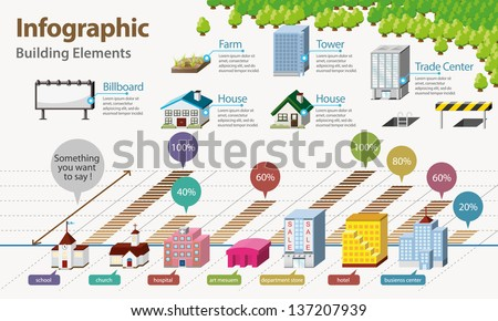 Real Estate Infographic. Building Icon - stock vector