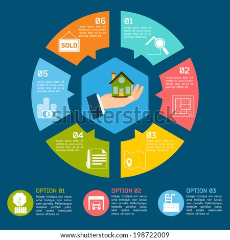 Real estate infographic set with pie chart options vector illustration - stock vector