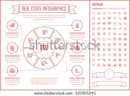 Real Estate infographic template and elements. The template includes the following set of icons - Real estate agent, seminar, training, investment, for sale placard and more. Modern minimalistic flat - stock vector