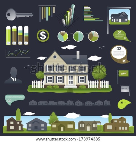 Real estate infographics design with house and elements - stock vector