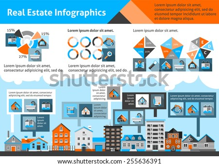 Real estate infographics set with commercial property apartment symbols and charts vector illustration - stock vector