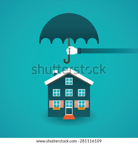 Real estate insurance vector concept in flat style - stock vector