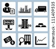 real estate investment, business icon set - stock photo