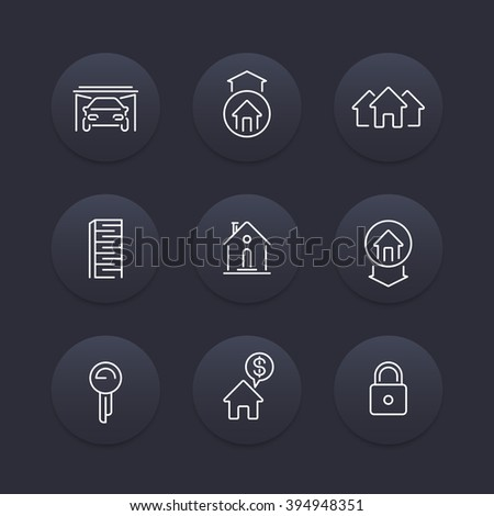 Real estate line icons, mortgage, key, rent, loan, building, property, dark round icons set, vector illustration - stock vector