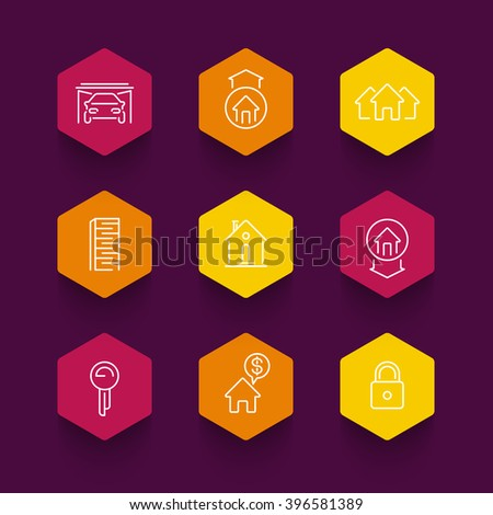 Real estate line icons, mortgage, rent, house for sale, loan, building, color hexagon icons, vector illustration - stock vector